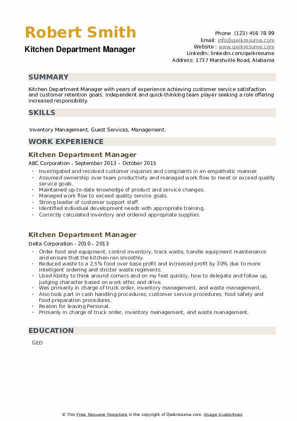 Kitchen Department Manager Resume example