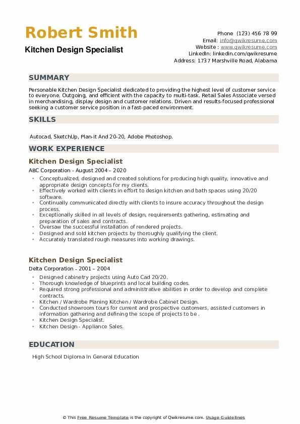 Kitchen Design Specialist Resume example