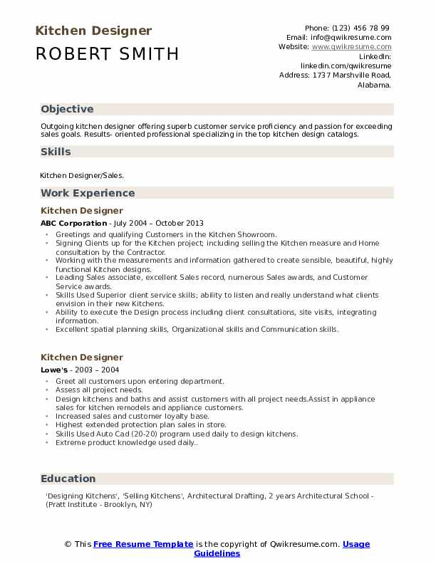 Kitchen Designer Resume Samples Qwikresume