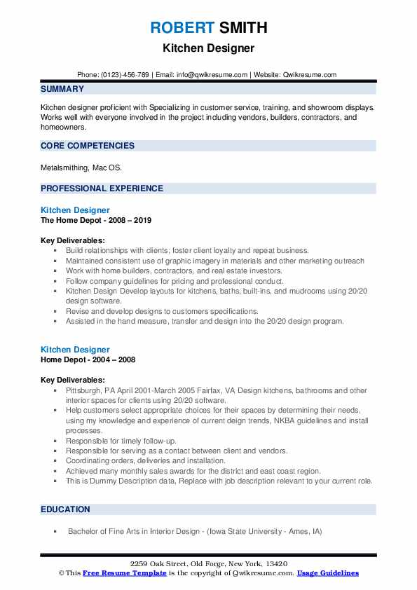 Kitchen Designer Resume example