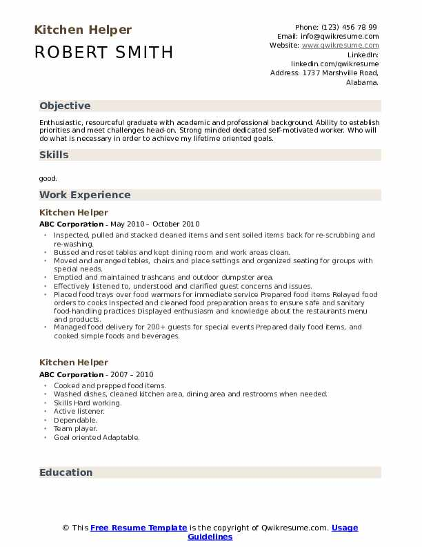 Kitchen Helper Resume Samples Qwikresume