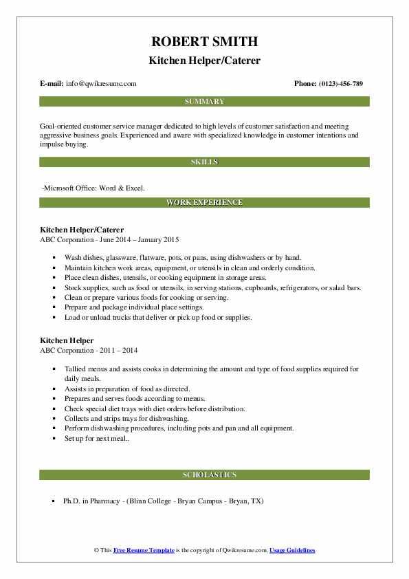 Kitchen Helper/Caterer Resume Format