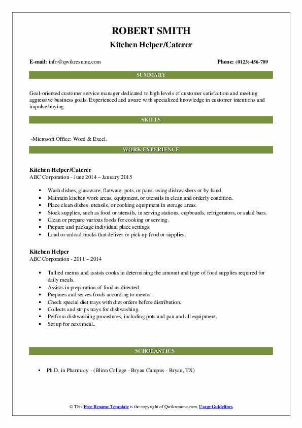 Kitchen Helper/Caterer Resume Template