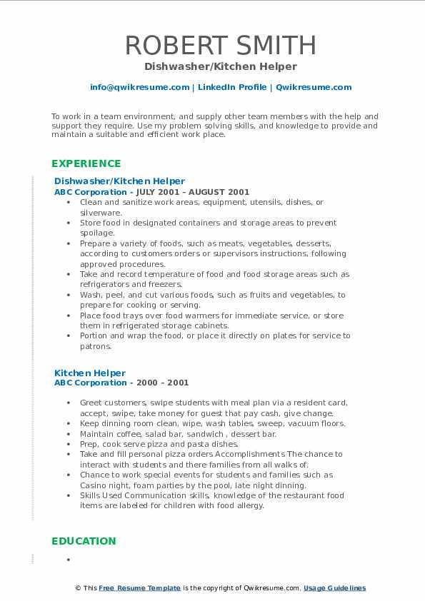 Dishwasher/Kitchen Helper Resume Model