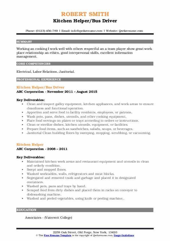 Kitchen Helper/Bus Driver Resume Example