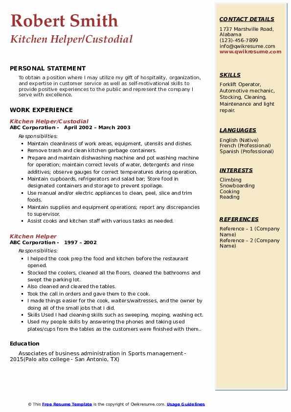Kitchen Helper/Custodial Resume Sample