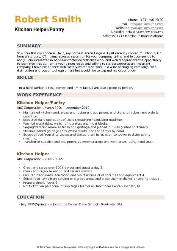 Kitchen Helper/Pantry Resume Format