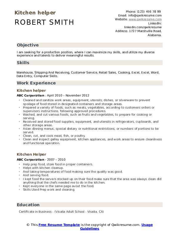 Kitchen Helper Job Description Resume Kitchen Appliances