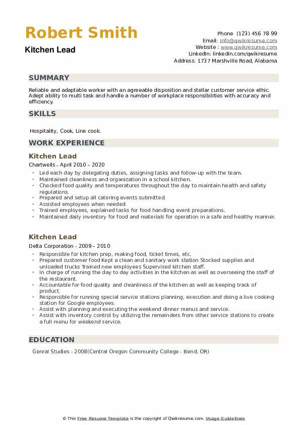 Kitchen Lead Resume example