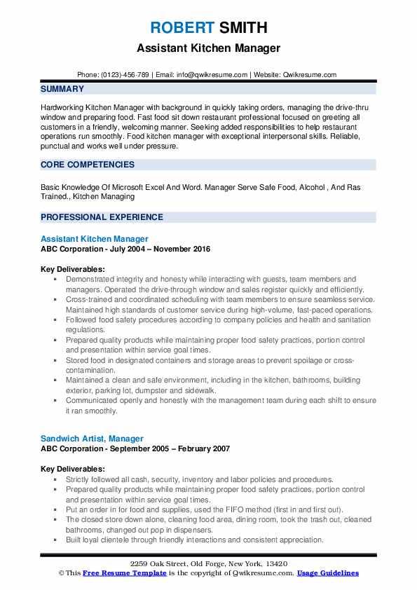 Assistant Kitchen Manager Resume Format