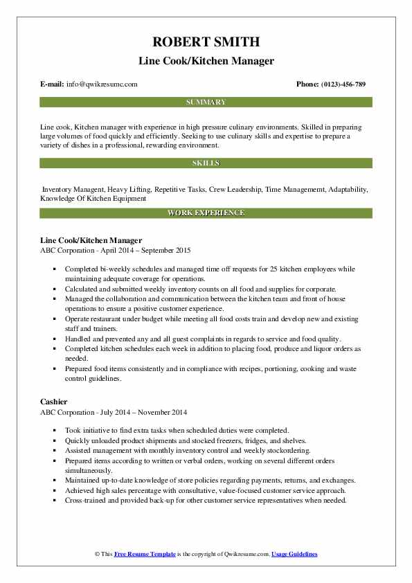 Line Cook/Kitchen Manager Resume Format
