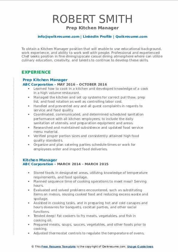 Prep Kitchen Manager Resume Format
