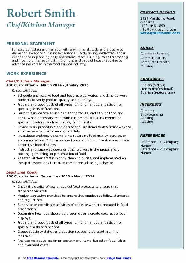 Chef/Kitchen Manager Resume Template