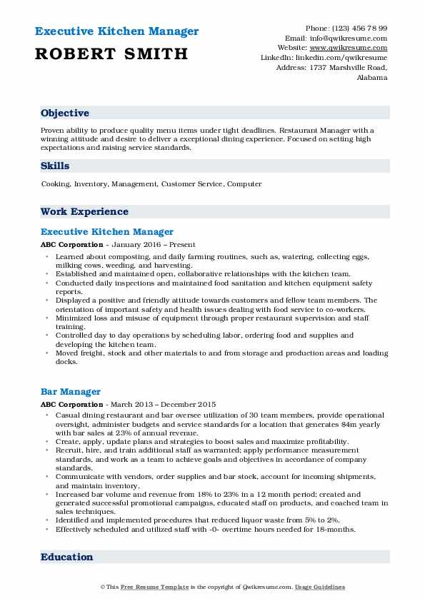 Executive Kitchen Manager Resume Sample