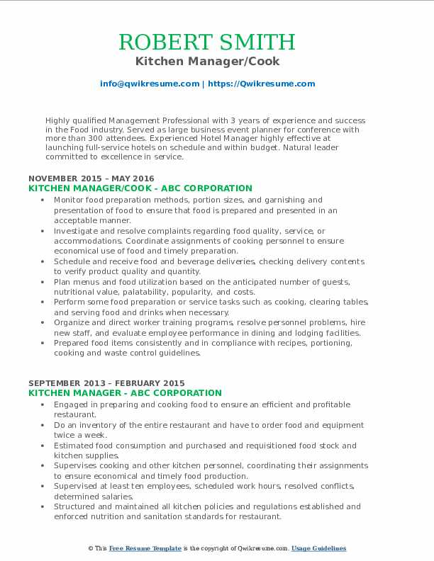 Kitchen Manager/Cook Resume Example