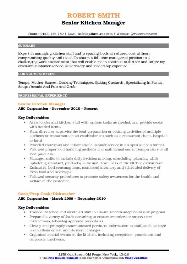 Senior Kitchen Manager Resume Template