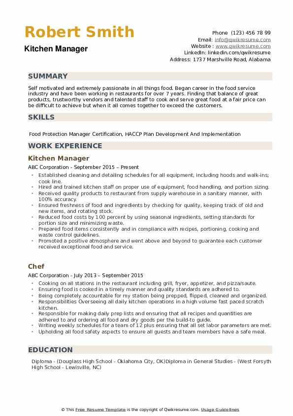 Kitchen Manager Resume example