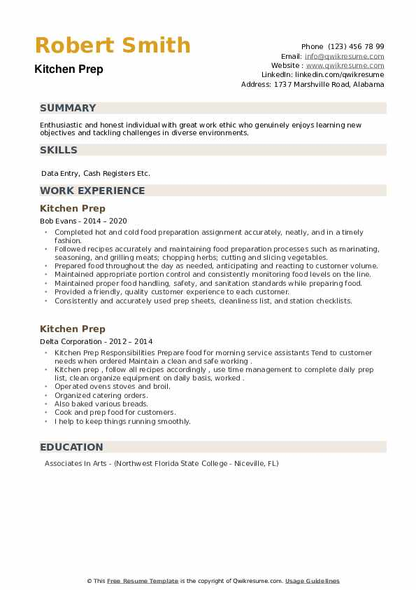 Kitchen Prep Resume example