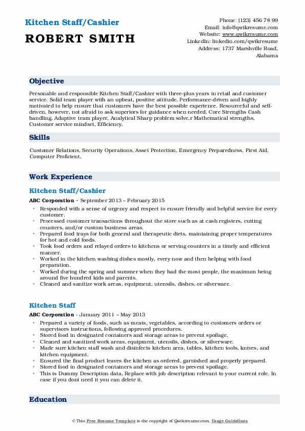 Kitchen Staff/Cashier Resume Model