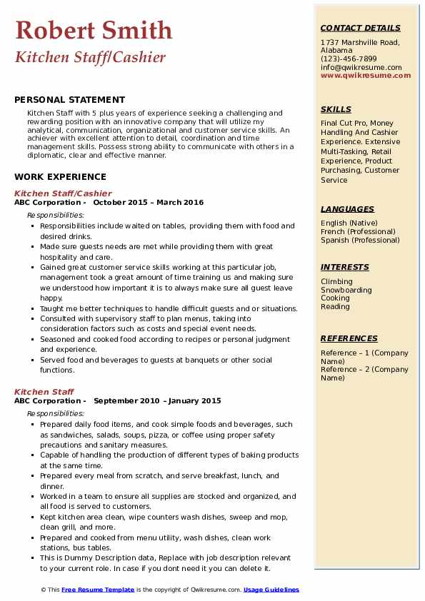 Kitchen Staff/Cashier Resume Format