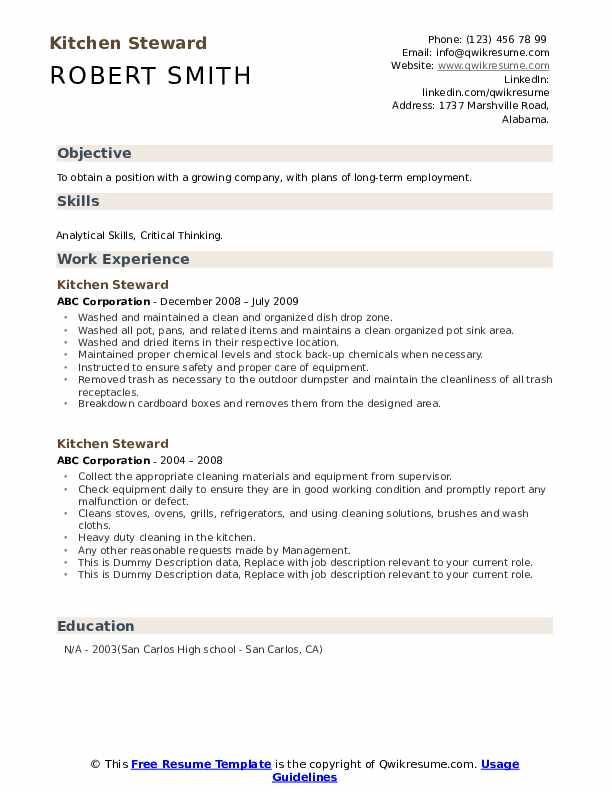Kitchen Steward Resume example