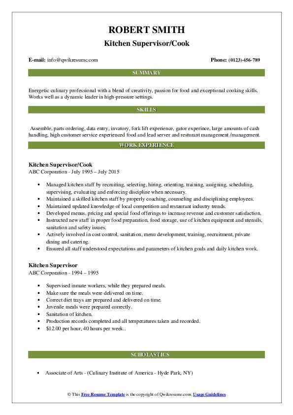 Kitchen Supervisor/Cook Resume Template