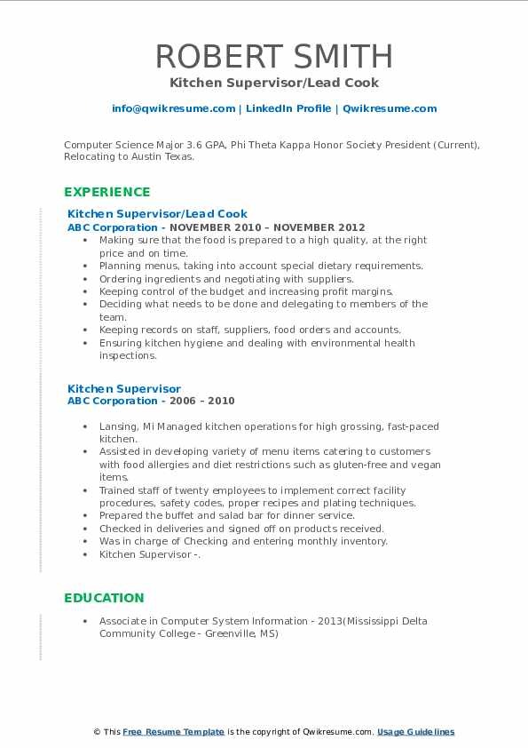 Kitchen Supervisor/Lead Cook Resume Template