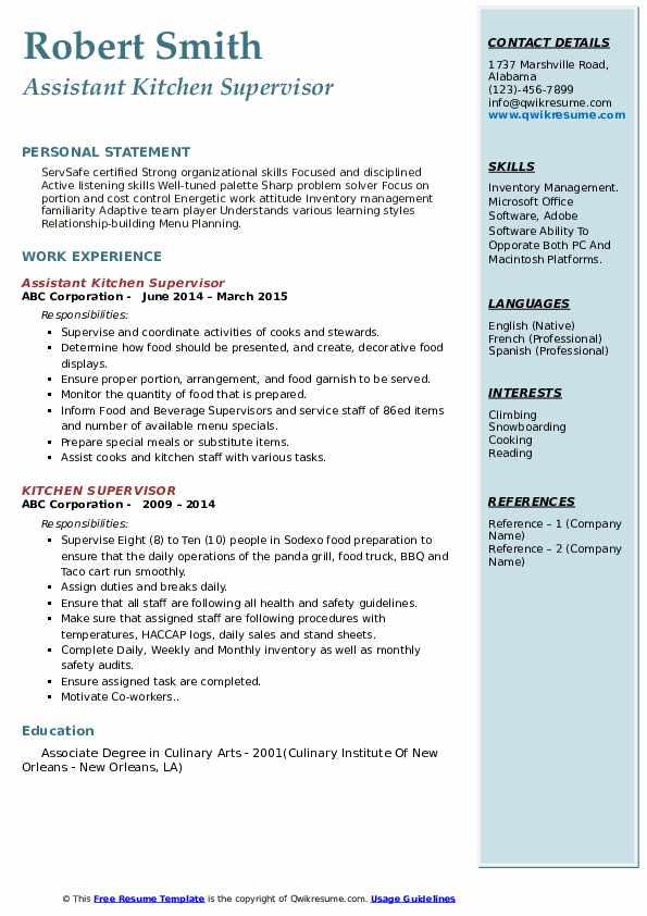 Assistant Kitchen Supervisor Resume Model