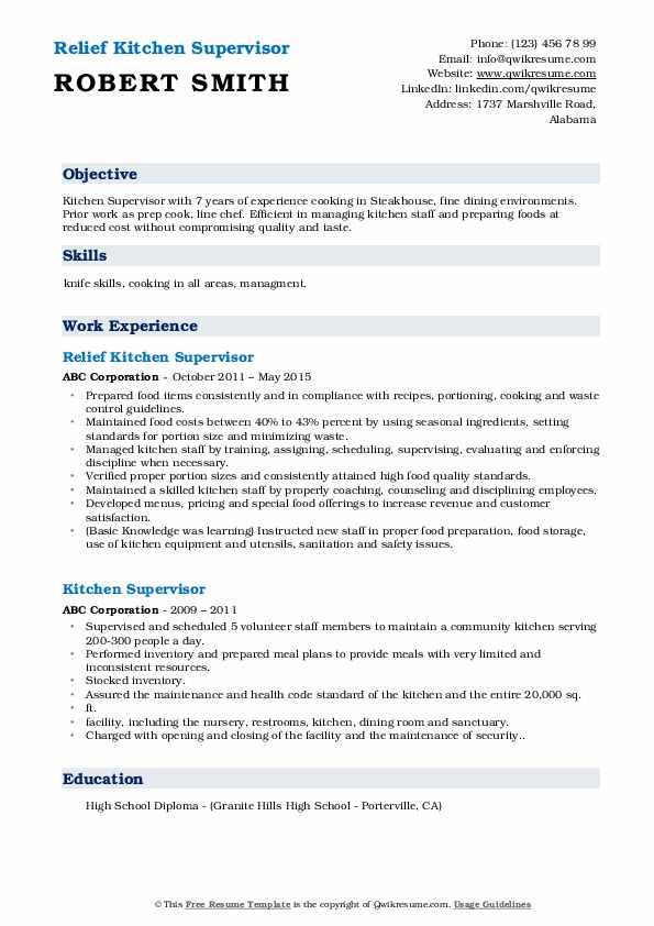 Relief Kitchen Supervisor Resume Format