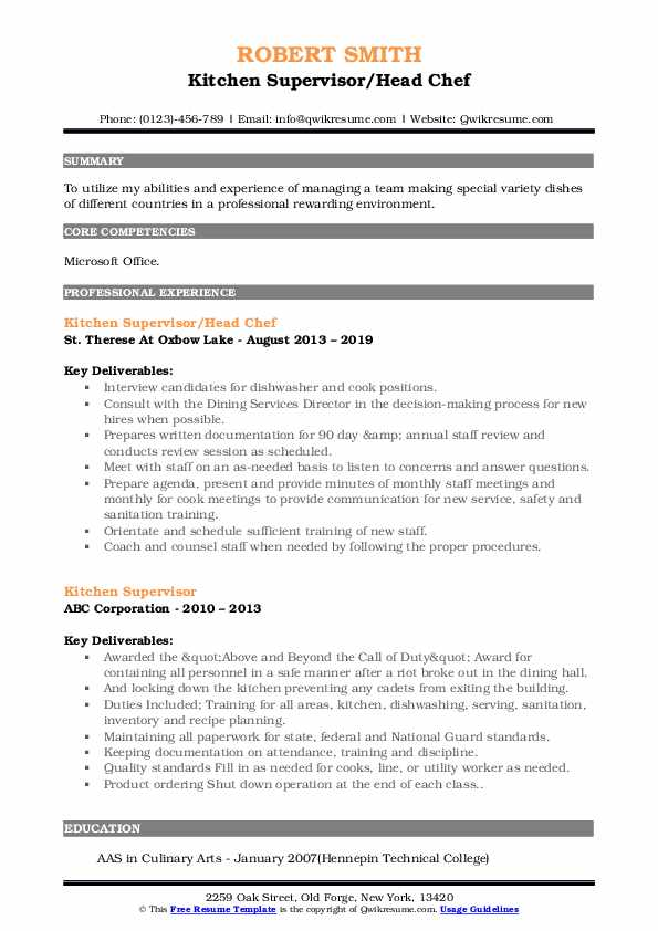 Kitchen Supervisor/Head Chef Resume Model
