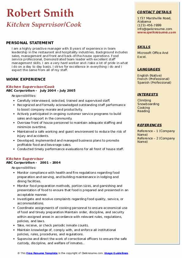 Kitchen Supervisor/Cook Resume Example