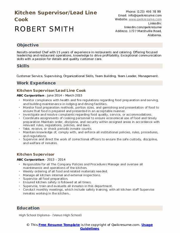 Kitchen Supervisor/Lead Line Cook Resume Template