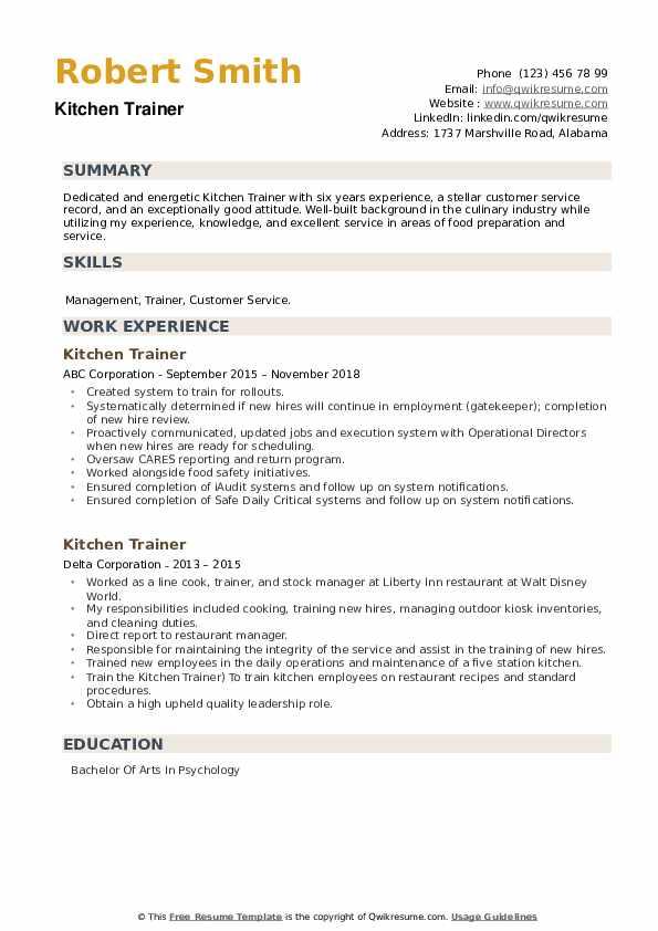 Kitchen Trainer Resume example