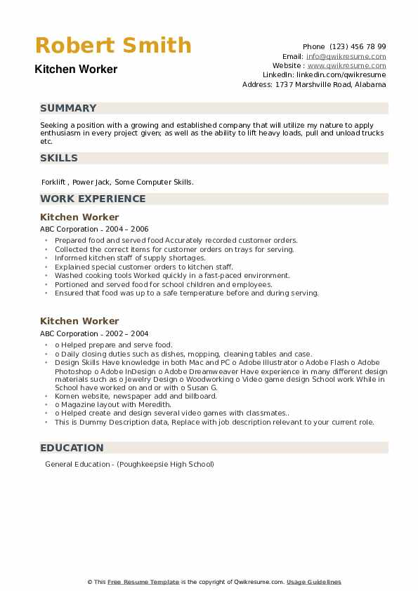 Kitchen Worker Resume example