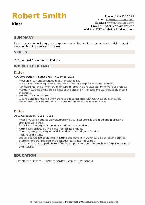 Kitter Resume example