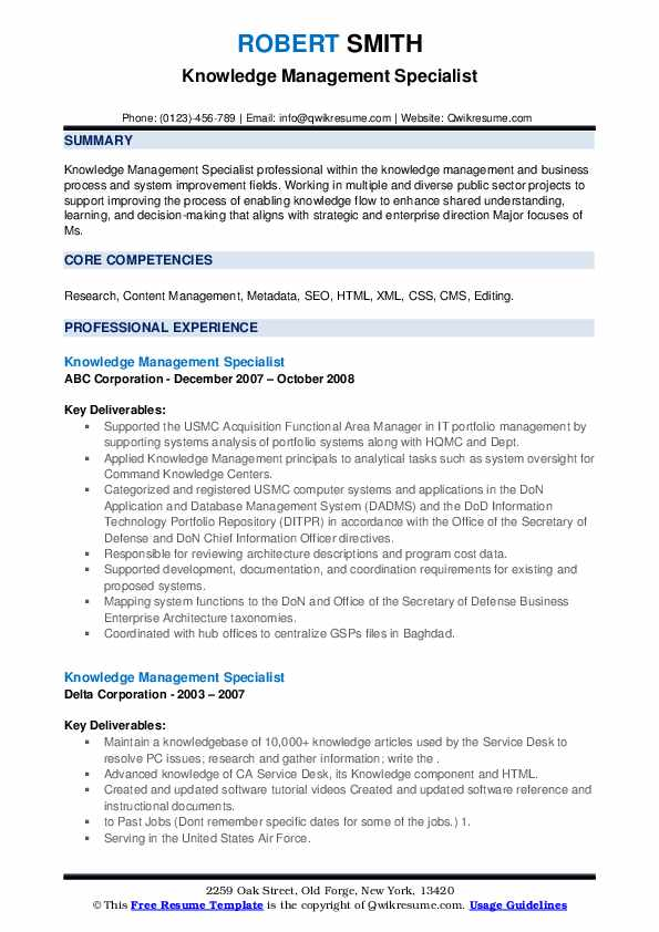 Knowledge Management Specialist Resume Samples Qwikresume