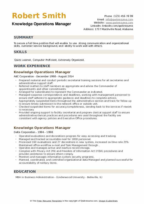 Knowledge Operations Manager Resume example