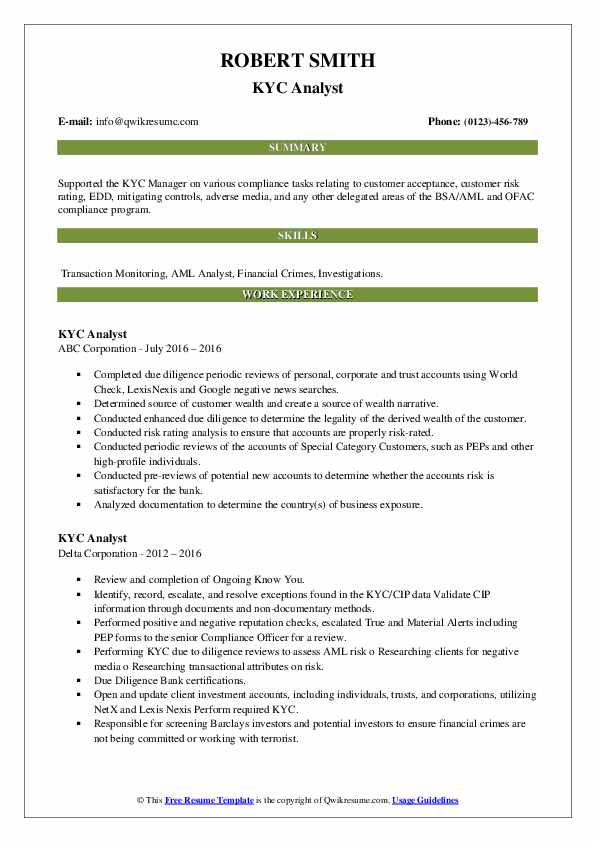Kyc Analyst Resume Samples Qwikresume