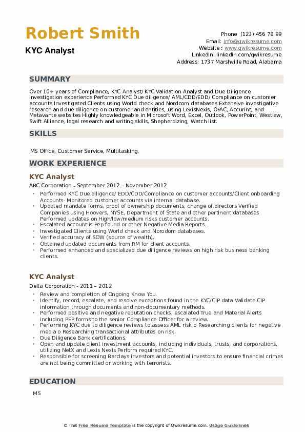 KYC Analyst Resume example