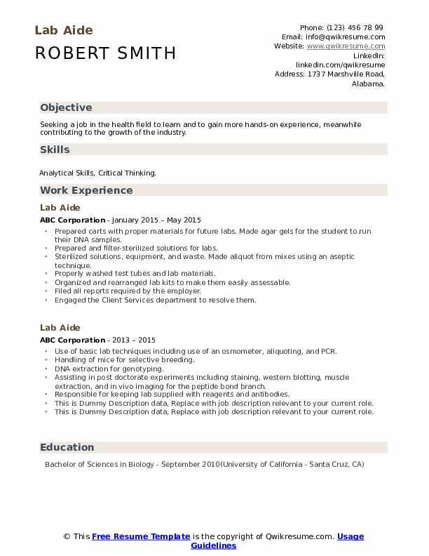 Lab Aide Resume example
