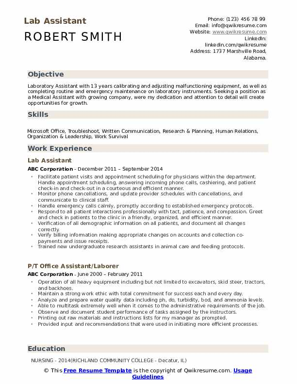 lab assistant resume samples