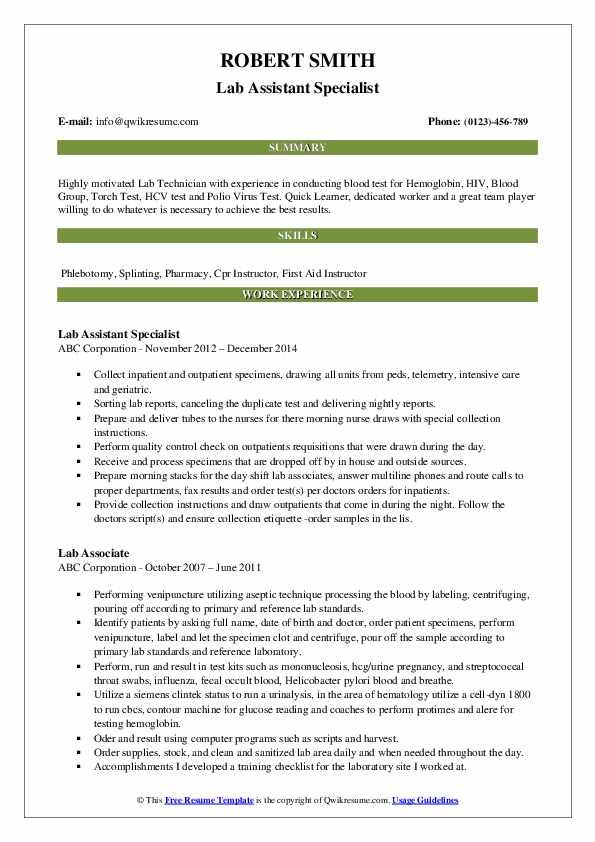 Lab Assistant Specialist Resume Sample