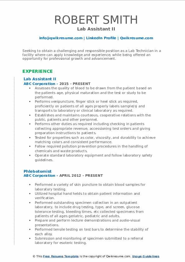 Lab Assistant II Resume Template