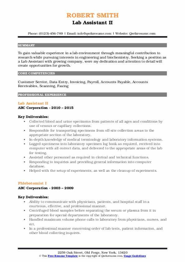 Lab Assistant II Resume Sample