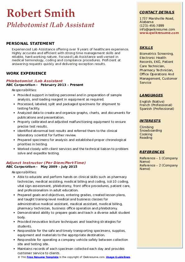 Phlebotomist /Lab Assistant Resume Template