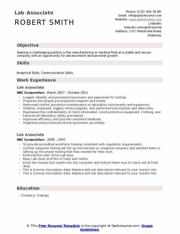 Lab Associate Resume example