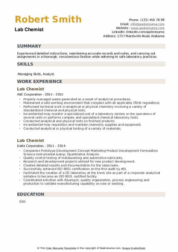 Lab Chemist Resume example