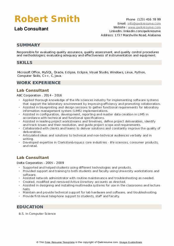 Lab Consultant Resume example