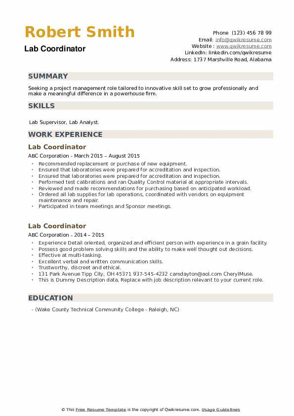 Lab Coordinator Resume example