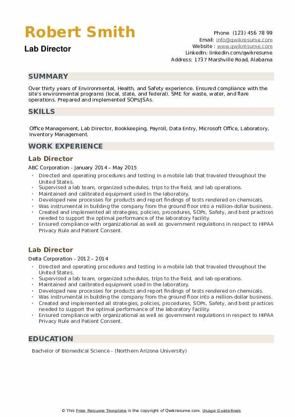 Lab Director Resume example